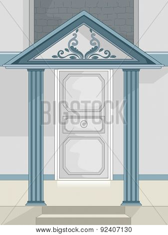 Illustration of a Stylish Portico Covered by a Roof