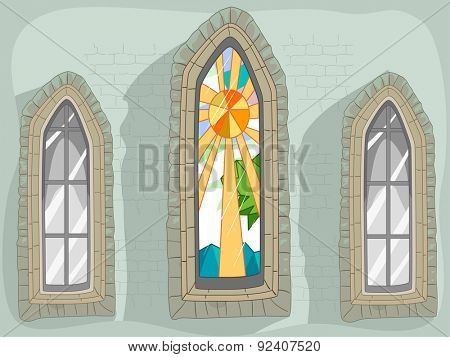 Illustration of a Lancet Window with a Stained Glass Design