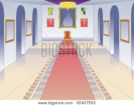 Illustration Featuring the Throne Room of a Castle
