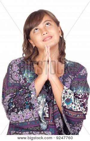 Adorable Preteen Girl Praying