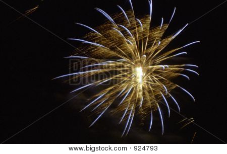 colored fireworks explosion ball on black sky poster