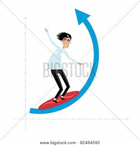 Businessman overcomes wave