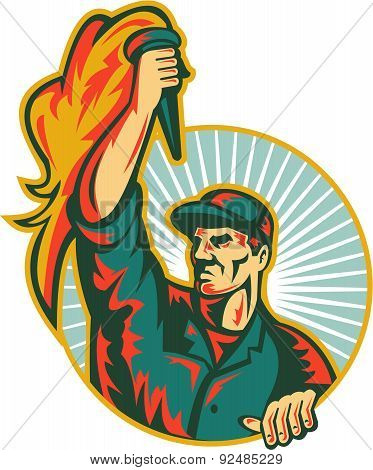 Worker Holding Up Flaming Torch Circle Retro