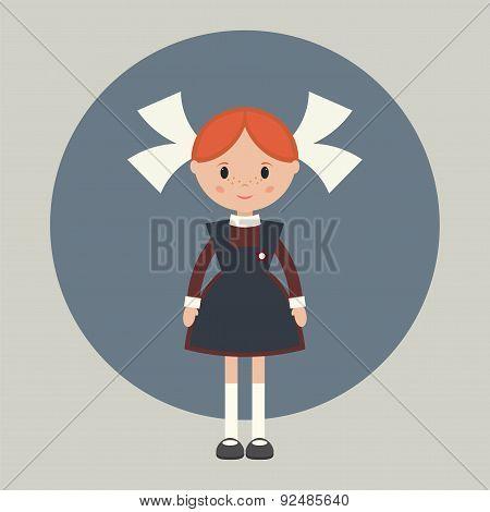 Soviet schoolgirl in school uniform. Simple flat vector. poster