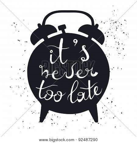 Silhouette of alarm clock on white background with inscription