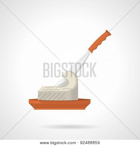 Butter with knife flat color vector icon