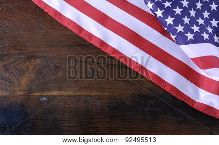 American Stars And Stripes Flag On Rustic Wood Background
