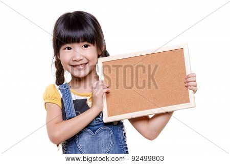 Little Asian child holding empty board over white background
