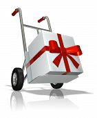 rendered hand truck with the gift in the box poster