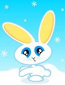 Vector cartoon of a rabbit during the winter holiday seasons. poster
