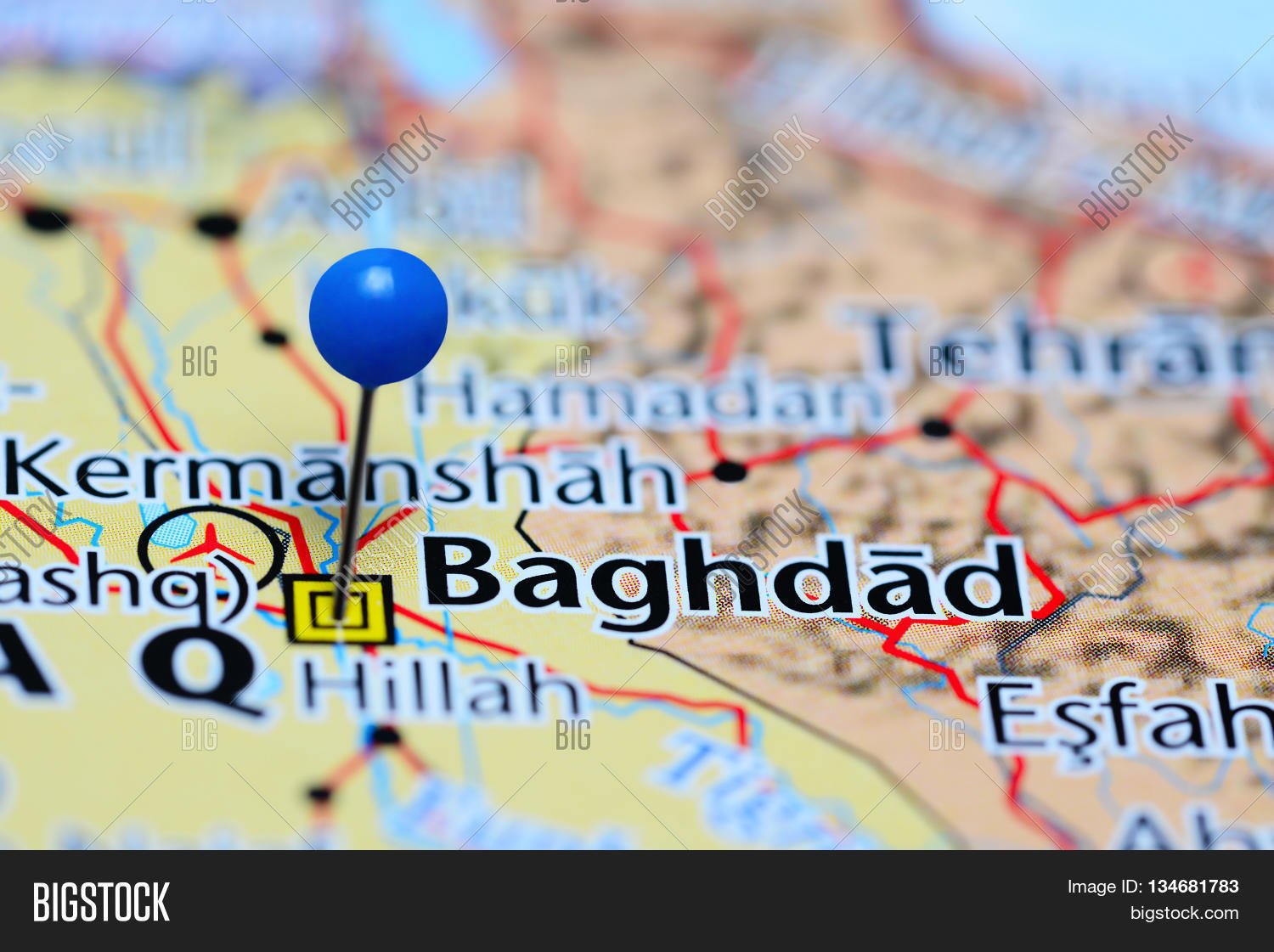 Baghdad Pinned On Map Image & Photo (Free Trial) | Bigstock