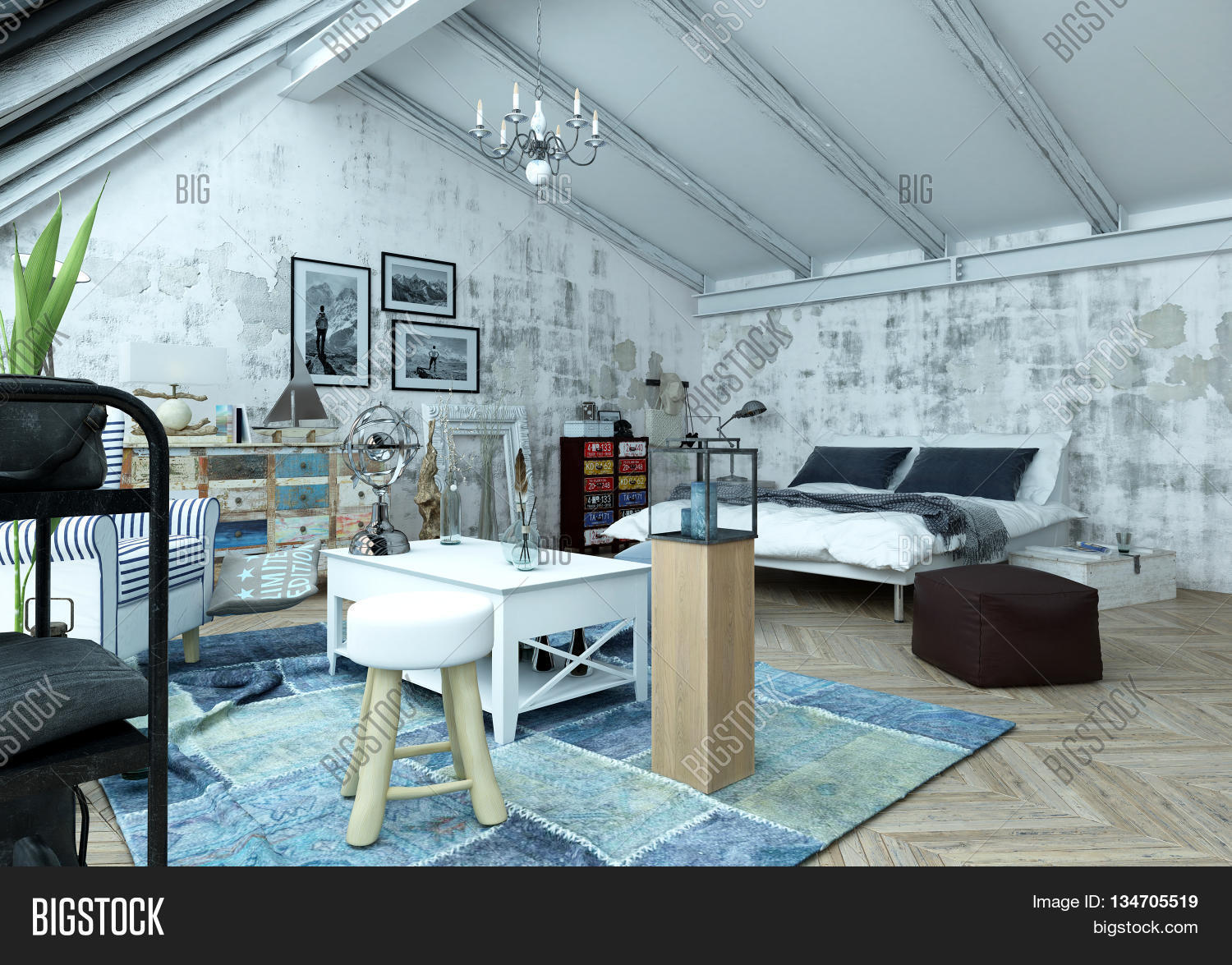 modern loft furniture. Modern Loft Bedroom With A Trendy Paint Effect Of Grey Abstract Splashes And An Eclectic Collection Furniture