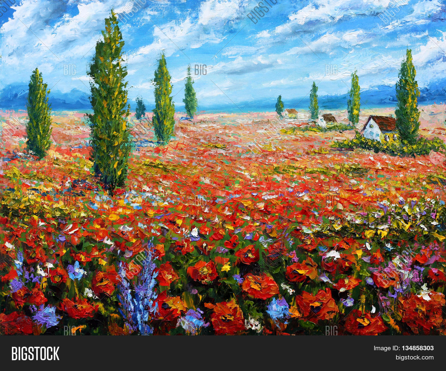 Flower Painting Field Image Photo Free Trial Bigstock