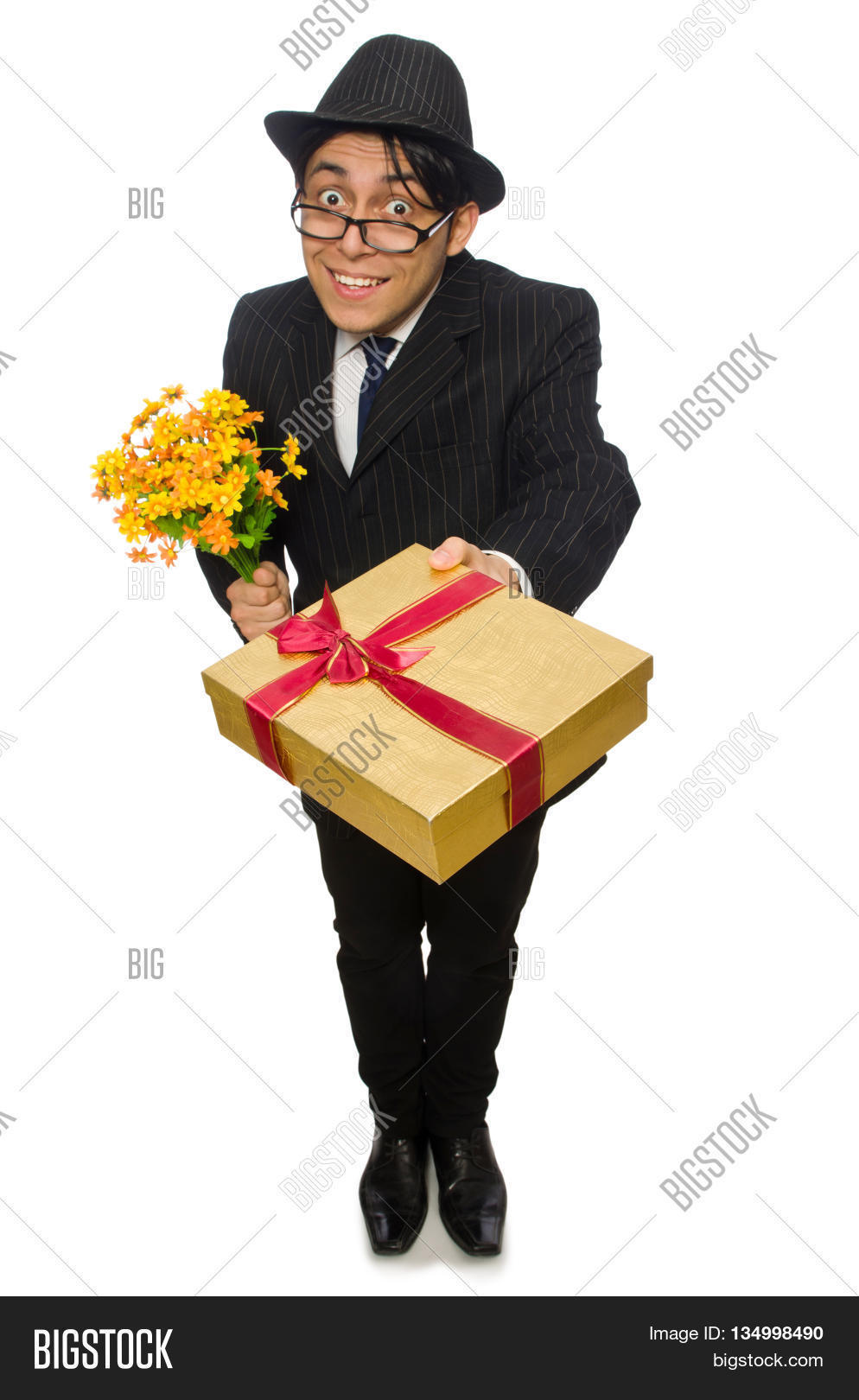 Funny man flowers image photo free trial bigstock funny man with flowers and giftbox izmirmasajfo