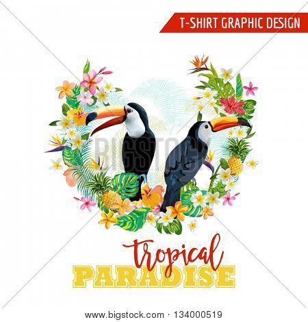 Tropical Graphic Design. Toucan and Tropical Flowers. Tropical Bird. T-shirt Fashion Print. Vector Background.