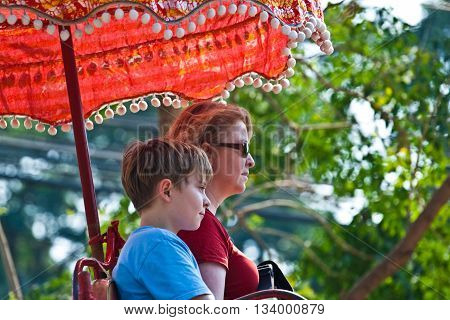 Tourists On An Elefant Ride  In Ajutthaja