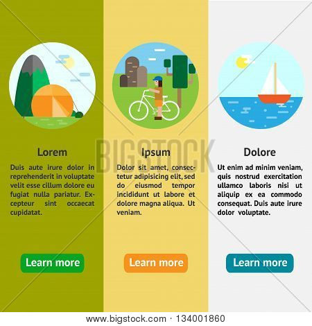 Eco-tourism. 3 type of eco rest - camping cycle tourism sailing Eco flat vertical banners vector illustrations
