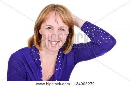 Young happy woman portrait. Success. Isolated over white background.