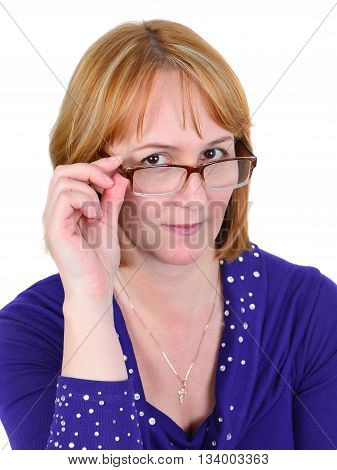 Portrait of the woman wearing spectacles isolated on the white background.