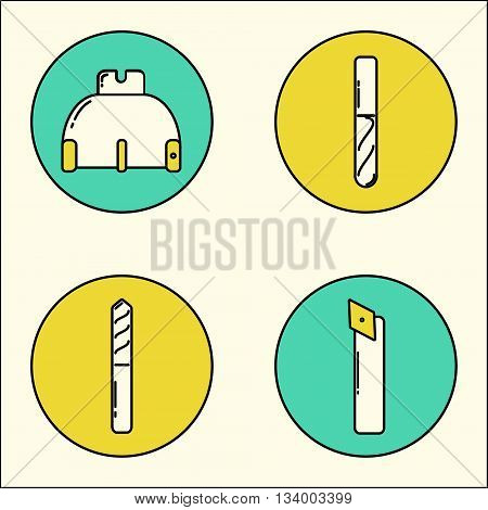 Vector icons of metalworking tools drawn in modern line stile