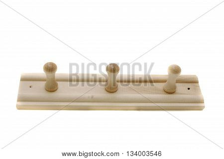 Wooden clothes hangers for towels isolated on the white background.