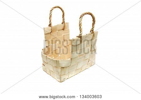 wooden basket for firewood isolated on the white background.