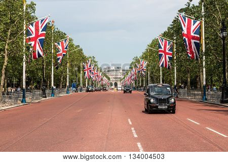 London Westminster UK 06 June 2016: The Mall decorated for the Queen's 90' birthday celebrations.