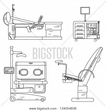 Outline medical hospital equipment set. Gynaecology chair and couch Infant incubator working Cabinet of the gynecologist