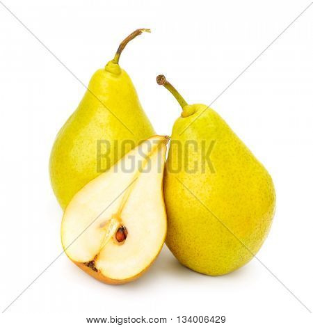 Collection ripe sweet pears isolated on white background