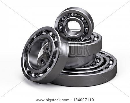 Ball bearings isolated on white. 3d render