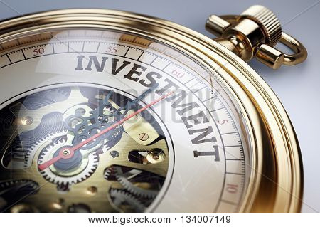 Time for investment concept. Vintage golden pocket watch. 3d render