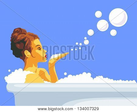Woman blowing a bubbles off her hand relaxing in bath with foam. Vector flat drawn design color illustration on blue background