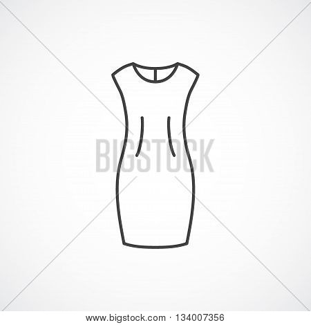 Sheath dress vector line icon isolated on white background