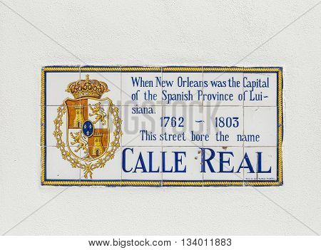 NEW ORLEANS, USA - AUG 5, 2012: old street name Calle Real painted on tiles in the French quarter in New Orleans