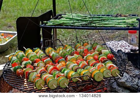 Roasting vegetable skewers and asparagus on an outdoor grill