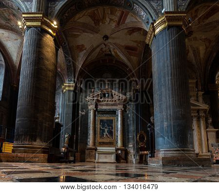 CREMONA ITALY - APRIL 26 2016: Interior of the Cremona Cathedral dedicated to the Assumption of the Blessed Virgin Mary is richly decorated by the 16th century frescoes by Bernardino Gatti