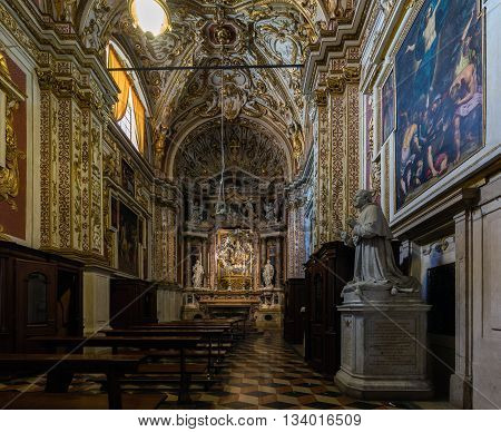 CREMONA ITALY - APRIL 26 2016: Interior of one of the chapels of the Cremona Cathedral dedicated to the Assumption of the Blessed Virgin Mary