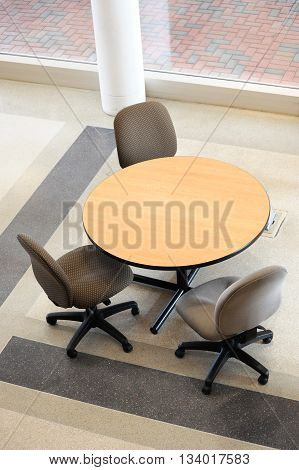 table and chair in office lobby for design
