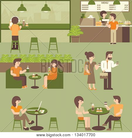 Cafe coffee shop. Urban social concept infographic element. Vector flat icons cartoon design. Indoor coffee shop. Lifestyle people in cafe. Businessman Man Woman Couple Friends in cafeteria.