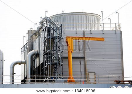 close up on exterior equipment of chemical factory