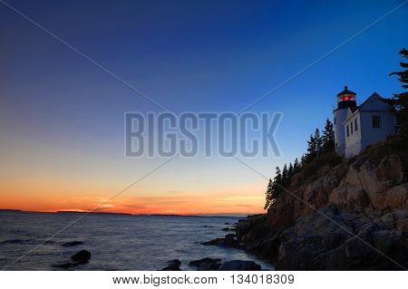 bass harbor lighthouse in Acadia National Park after sunset