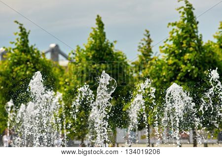fountain about Pedestrian park Muzeon Arts. Moskow. Russia. focus is on first jet