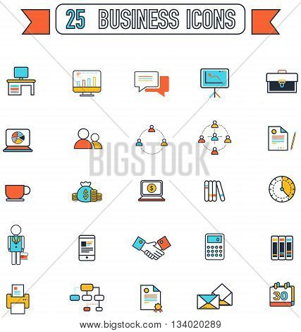 Flat line business and office tool equipment sign and symbol icon collection set create by vector