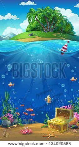 Undersea world with island mobile format. Marine life landscape - the ocean and the underwater world with different inhabitants.
