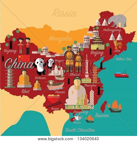 China map and travel.China landmark eps 10 format