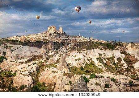 Cappadocia Uchisar Castle And Hot Air Balloons