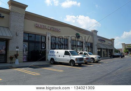 SHOREWOOD, ILLINOIS / UNITED STATES - AUGUST 16, 2015: Duke's Catering offers catering services from a Shorewood strip mall.