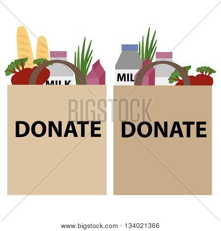 Food donation papper bag for homeless people. Vector concept illustrations.