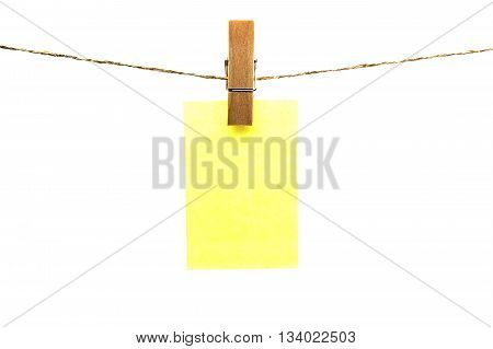 Paper Notes Hanging On Rope Isolated White Background