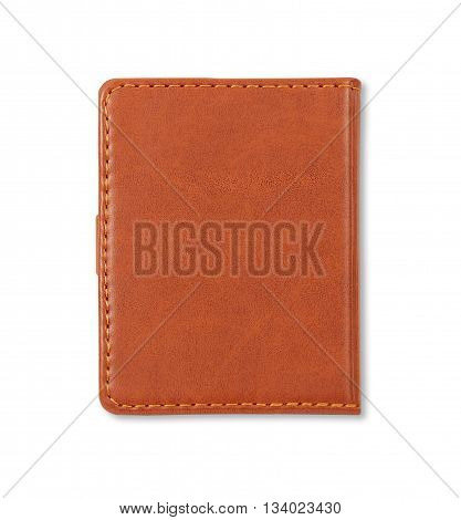 Brown leather notebook cover isolated on white background